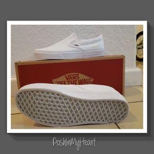 Vans Shoes - Vans -Plain White Slip on Sneakers